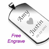 316L Stainless Steel Regular Size Dog Tag Pendant with a chain: Personalized