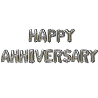 14 inch Alphabet Balloons Set (Happy Anniversary - Gold / Silver)