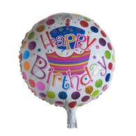 17 inch Round Happy Birthday Mylar Balloon (Cake & Dots)
