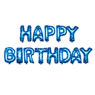 14 inch Alphabet Balloons Set (Happy Birthday - Blue)