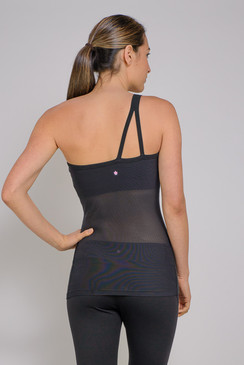 Beauty meets Function in this gorgeous designer yoga tank with sexy mesh paneling.