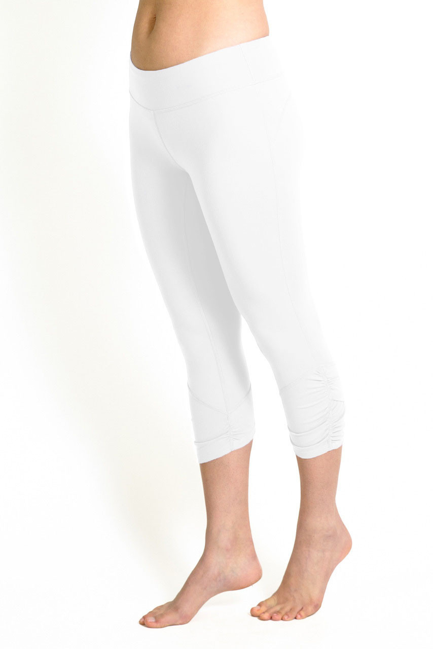 Goddess Yoga Capri Legging in White | Yoga Bottoms | KiraGrace
