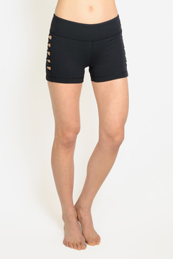Black Warrior Cut out Yoga Shorts