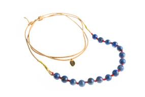 Asha Patel's Lapis Lazuli Leather Necklace