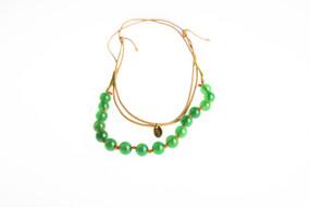 Asha Patel's Green Onyx Leather Necklace