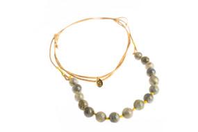 Asha Patel's Labradorite Leather Necklace