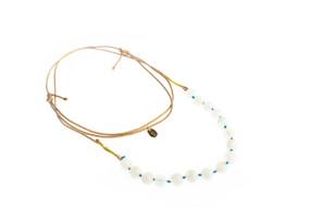 Asha Patel's Moonstone Leather Necklace