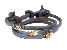 Asha Patel's Lotus Wrap Steel Leather Bracelet