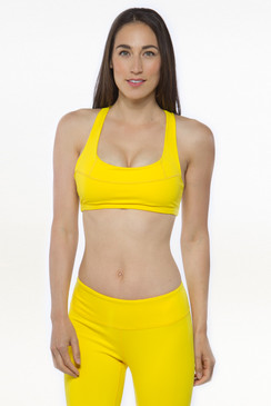 Warrior T-Back Yoga Bra (Blazing Yellow)