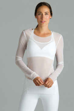White Diva Mesh Yoga Tops