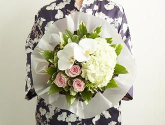 Green Hydrangea, White Phalaenopsis Orchids, Duchesse Rose, Pittosporum & Aralia Leaves