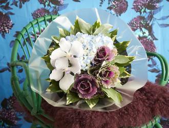 Blue Hydrangea, Lilac Vanda Orchids, Purple Brassica, Pencil Eucalyptus & Aralia Leaves
