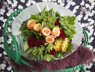 Fuego Bloom, Pale Orange Rose, Burgundy Dianthus, Orange Alstromeria & Oak leaves