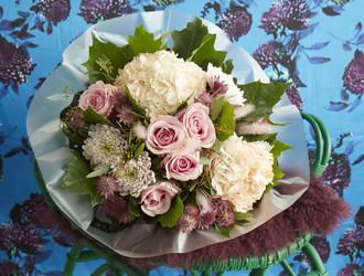 Rossano Bloom, Silk Grass,Pale Pink Hydrangea,Pale Pink Rose, Astrantia, Oak Leaf & Seeded Eucalyptus.