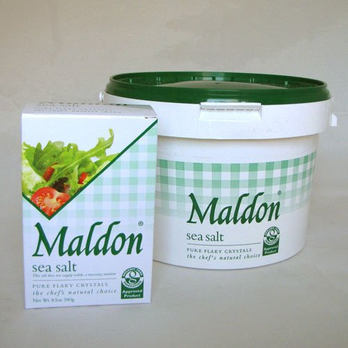 Salt Traders Maldon Sea Salt - 8.5 oz Box & 3.3 lb Bucket