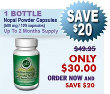 Freeze Dried Nopal Powder Capsules - Nopal Cactus (Prickly Pear) 500 mg / 120 Capsules