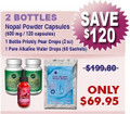 First Time Client Special - 2 Bottles Nopal (120 caps / 500 mg) Plus 1 Prickly Pear Drops (2 oz) & 1 Pure Alkaline Water Drops With Coral Bioavailable Coral Calcium (60 sachets)