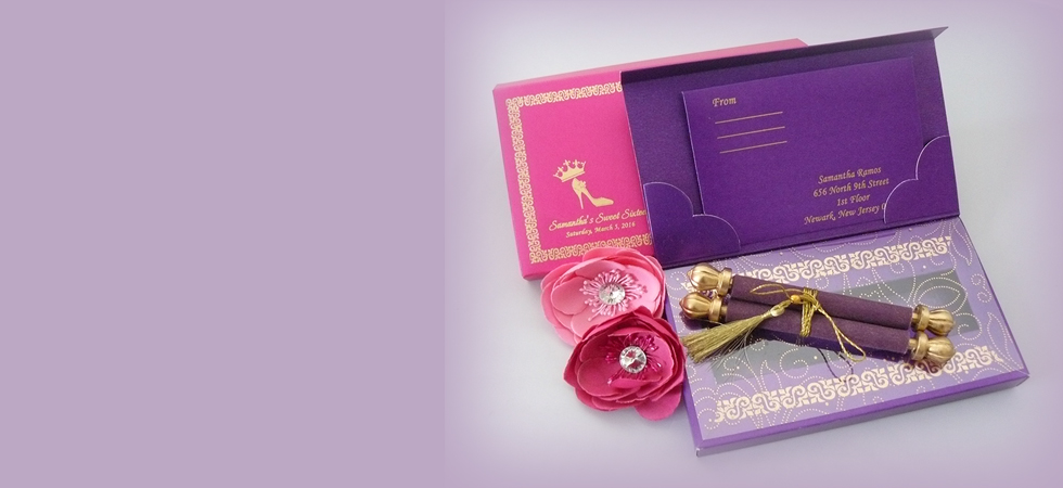 Wholesale and Retail Wedding Invitation Scroll invitation Silk