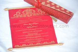 Vintage Scroll in the pouch and envelope (Set of 25), Vintage wedding scroll, royal scroll invitation