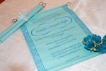 Peacock feather Aqua scroll program book (Set of 25) (PK02)