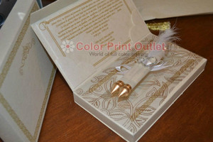 Royal theme invitation - Mini scroll invitation in the box (Set of 25) (MSBT - 005) with rhinestone brooch and feather decoration