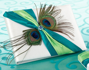 Peacock Feather Guest Book and Pen Set