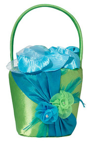 Blue & Green Flower Basket