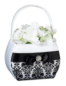 Black Damask Flower Basket