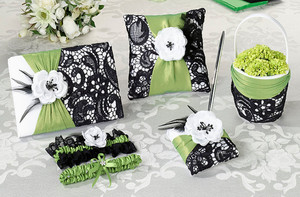 Green and Lace Black Wedding Ceremony & Reception Set