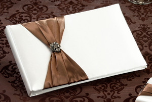 Brown Jeweled Cream Guest Book and Pen Set