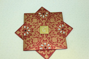 Mehndi Square Invitation -1111 (Set of 25 cards) Available in 2 cards