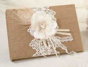 Burlap & Lace Guest Book & Pen Set