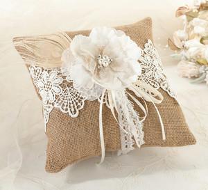 Burlap & Lace Ring Pillow