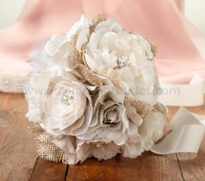 Burlap & Lace Flower Bouquet