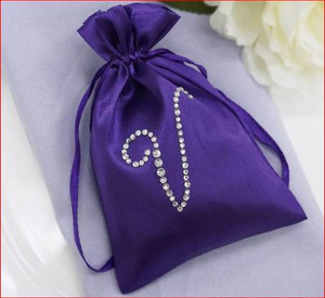 100 Personalized Diamond Letters 4x6 Satin Favor Bags