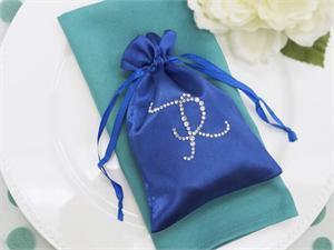 100 Personalized Diamond Letters 5x7 Satin Favor Bags
