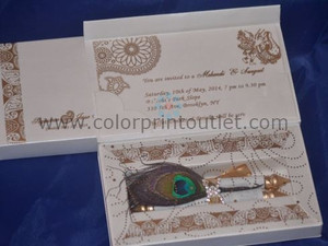 Mini Scroll Box Invitation - Paisley theme scroll invitation (Set of 25) - MSBT - 001