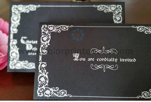 Black and silver fairy theme invitation (set of 25) - MSBT-006 -BLACK & GOLD/SILVER ROYAL/FAIRY THEME MINI SCROLL IN THE BOX