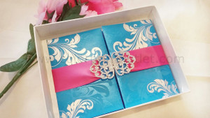 Luxury box folio invitation, Silk Invitations Box, Embellished Silk Invitations Box, box luxury wedding invitation (Set of 25)
