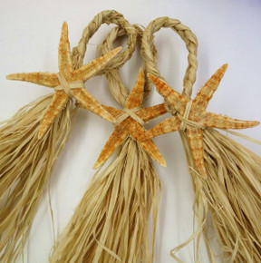 Starfish and Raffia Hanger - Set of 10