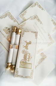 Mini Scroll with matching pouch & envelope (Set of 25) - MSPU -003 Cinderella theme invitation, Princesses theme invitation