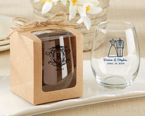 9 oz Stemless Wine Glass Gift Box - Rustic Theme