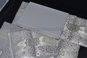 Pearl White Silk Folio Invitation