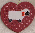 Heart and Lamb Wooden Ornament