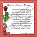 Prayer Card - Birth or Adoption ENGLISH  (1 card)