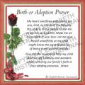 Prayer Card - Birth or Adoption ENGLISH  (1 card)