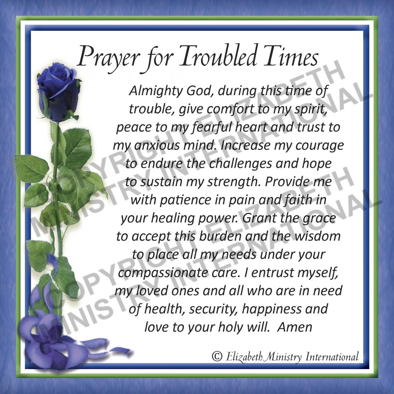 Prayer Card Troubled Times English 1 Card Elizabeth