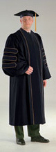 Northcentral University Deluxe Doctorate Gown with Black Velvet and Piping