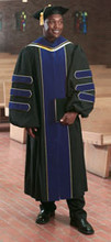 Northcentral University Deluxe Doctorate Gown with PhD Blue Velvet and Piping