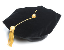 Doctoral Tam Deluxe is a 6-sided tam.  It is adjustable in size and is made with black velvet with gold metallic tassel.